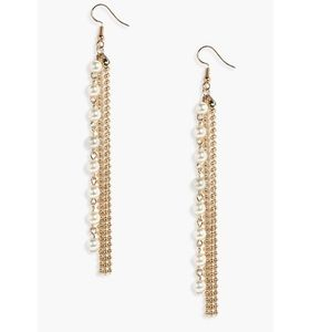asos gold pearl drop strand statement earrings